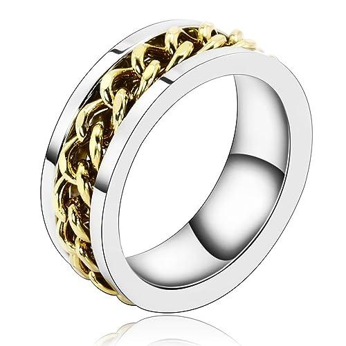 Daesar Joyería Acero Inoxidable Anillo Ring Banda Venda Plata Oro Eslabones Cadena Alianzas Boda Pulido Hombre