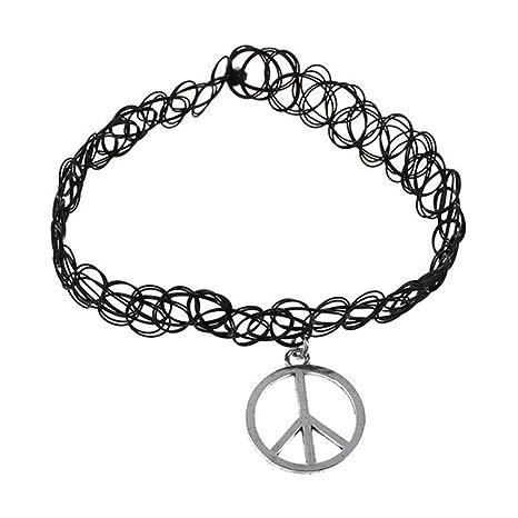 633dbc41b233 Signo de la paz Gargantilla - SODIAL(R) elastico Boho tatuaje Gargantilla  tramo Collar