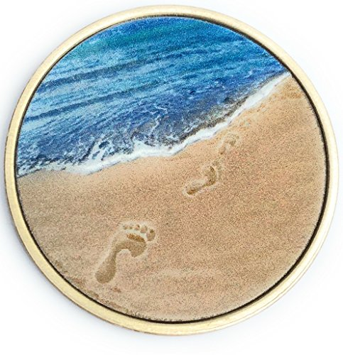 Footprints In The Sand Tropical Blue Color on Bronze Medallion Chip Pocket Token ()