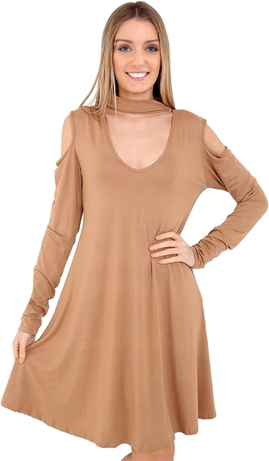 New Ladies Plain Choker Neck Cold Cut Out Shoulder Flared Swing Dress Top 8-26
