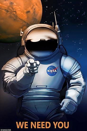 Astronaut We Need You Job On Mars Moon NASA Spaceship Travel Sci Fi Vintage Poster