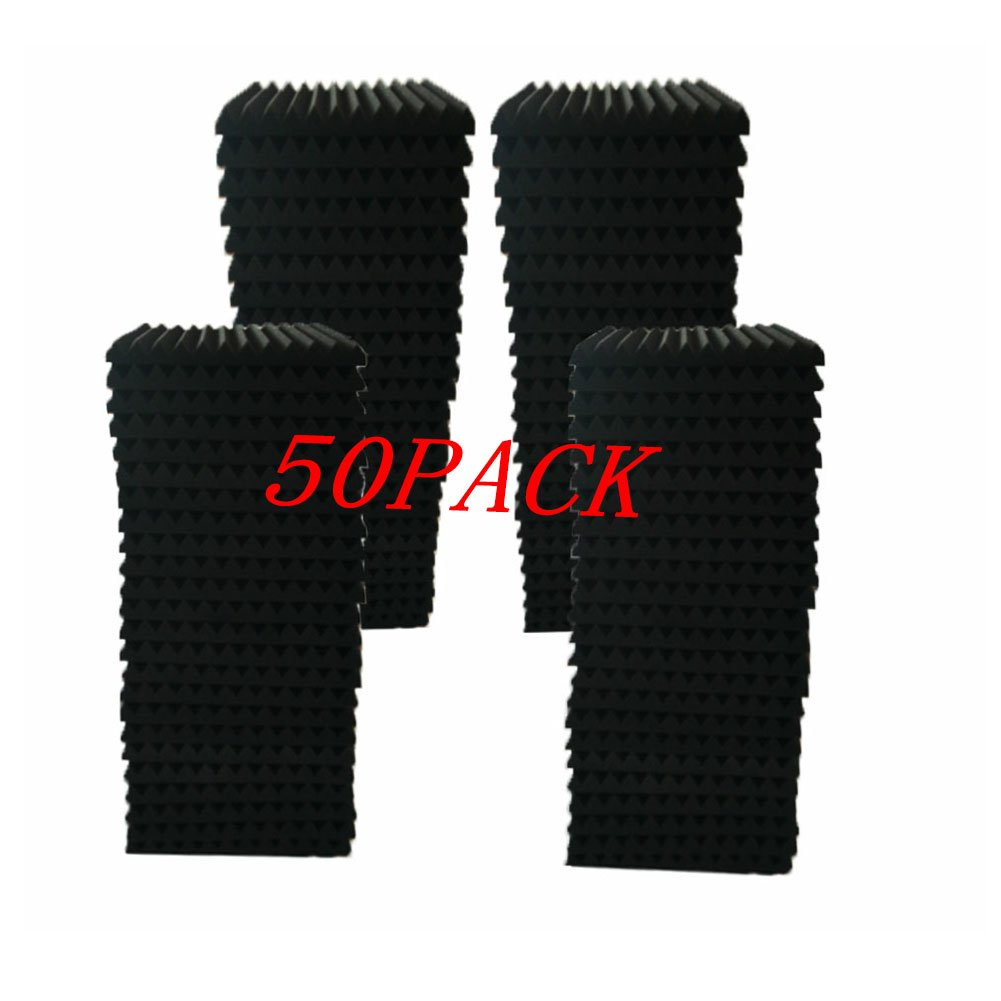 "50Pack Acoustic Panels Studio Foam Wedges 1"" X 12"" X 12""Sound-proofing,Sound Absorption (50pcs, Black) ship xinfuren"