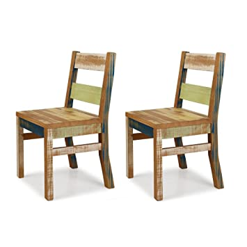 Reclaimed Chair   Set Of 2 Solid Wood Distressed Color