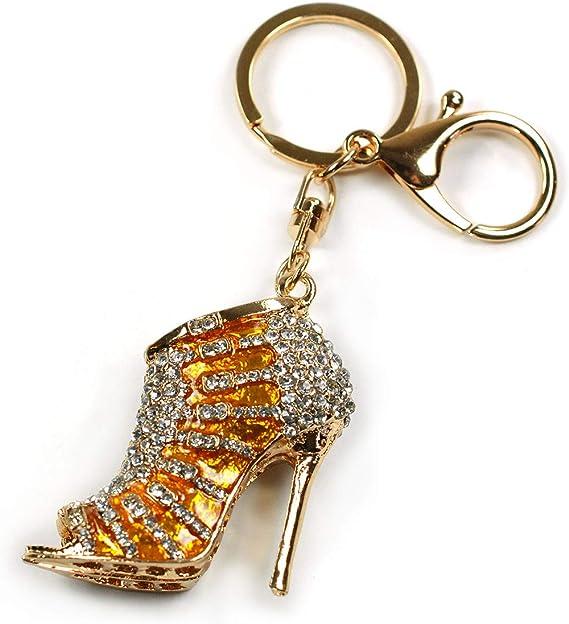 High Heel Shoe Stiletto Key Chain Ring Keychain Rainbow Stripe