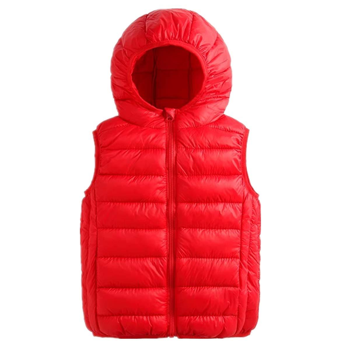 Beiduoxiong Boys Girls Lightweight Packable Hood Warm Puffer Down Cotton Vest 2-7 Y