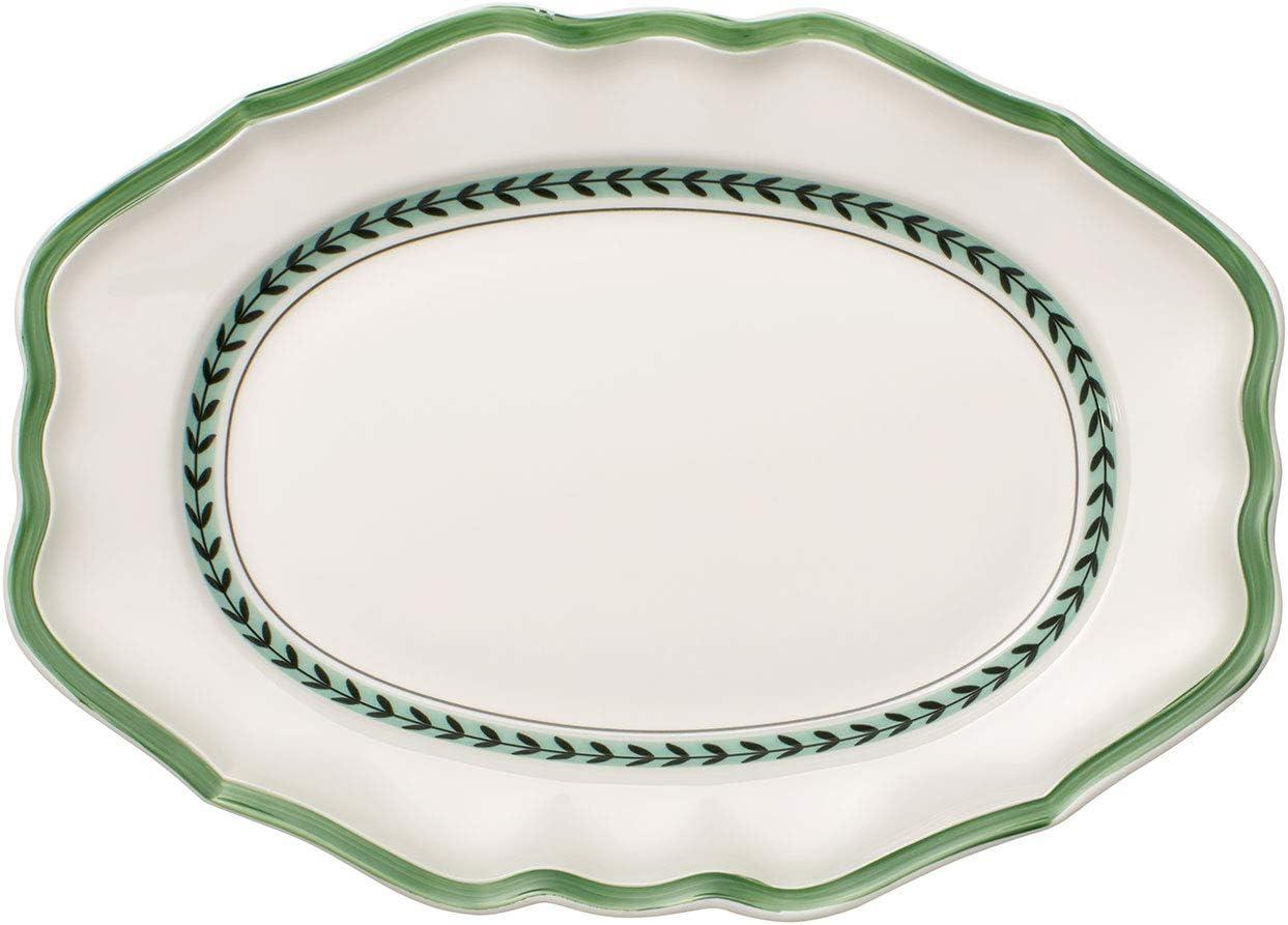 Villeroy & Boch French Garden Green Line Oval Platter, 14.5 in, Premium Porcelain, White/Green