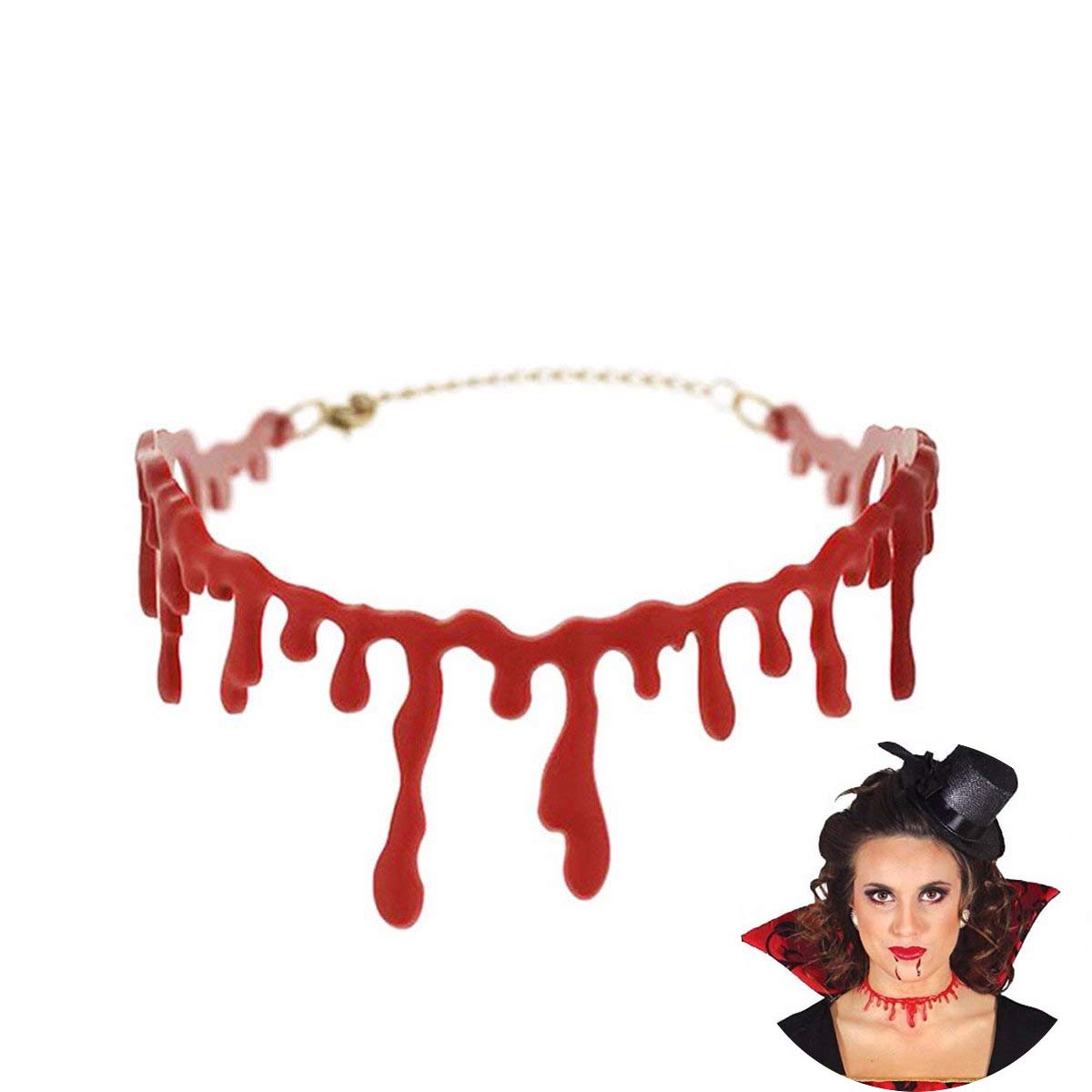 Da.Wa Resin Jewelry Clavicle Necklace Halloween Bloody Necklace Necklace Drop Blood Chain Halloween Party Supplies