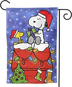 "POLKJIH Snoopy Christmas Garden Flag Double-Sided Printing Not Easy to Fade for Thanksgiving Christmas Outdoor Decor 12.5""x18"""