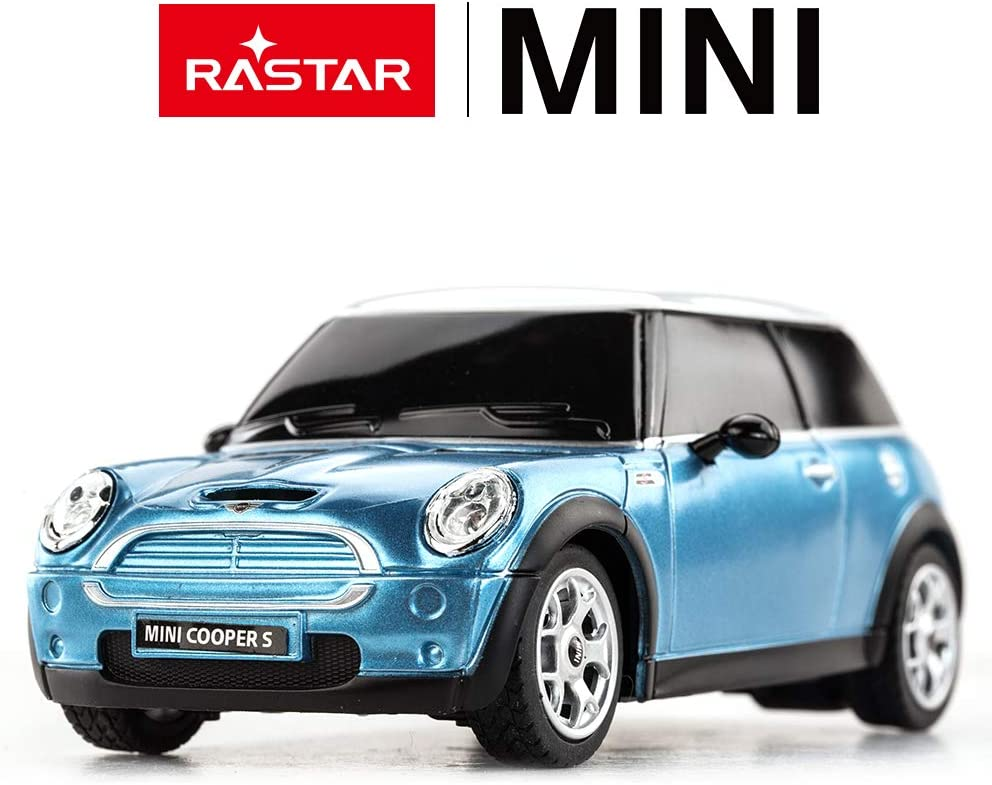 Blue by Rastar Mini Cooper Remote Radio Controlled Car 1:24 Scale Model Electric Toy R//C
