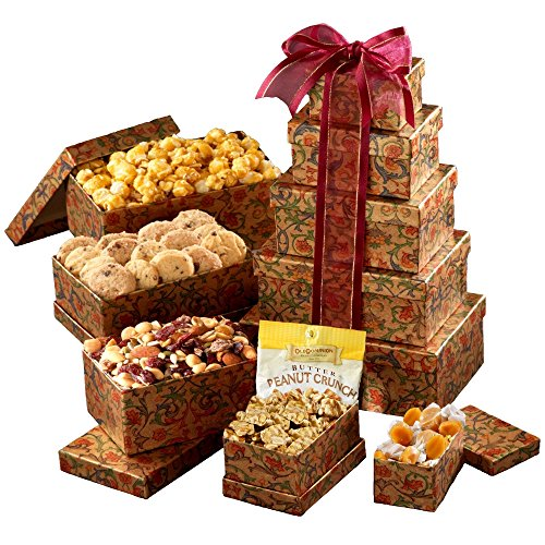 Broadway Basketeers Gourmet Gift Tower of Sweets (Medium) for Valentine's Day