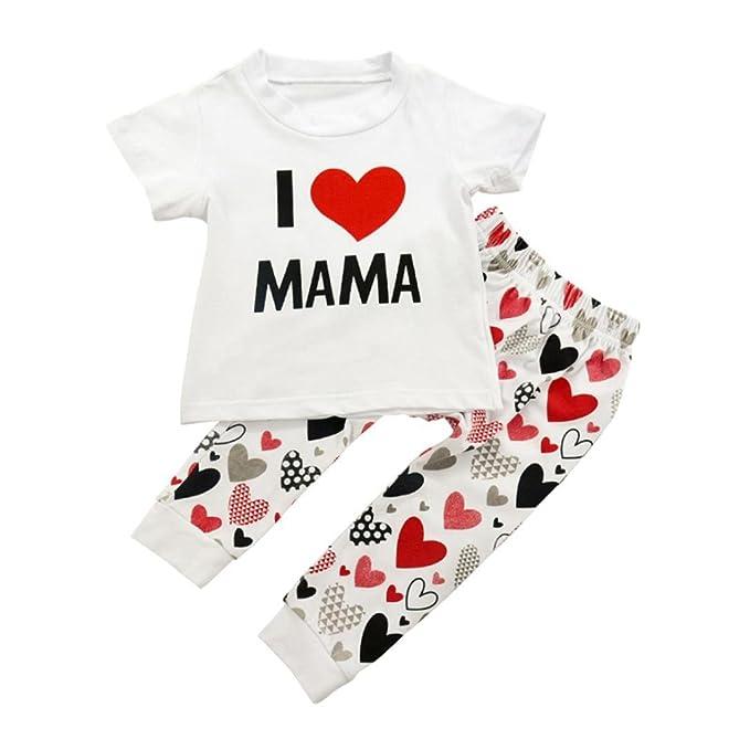 Amazon.com: iuhan bebé bebé niñas traje Set I ❤ Papa Mama ...