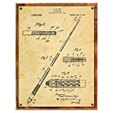 Wood-Framed Pool Cue Patent Drawing Metal Sign, Billiards,Vintage, Sport, Den Décor, Office on reclaimed, rustic wood Review