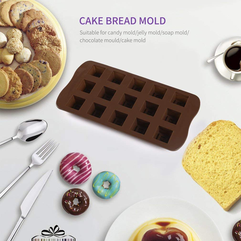 1 piece Handmade Soap Mould DIY Chocolate Mold Jelly Pudding Pastry Mould Baking Tools Cake Pan 15 Slots Square Grid Silicone Molds
