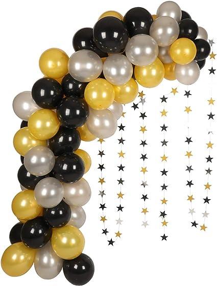 BLACK 5 NEW SILVER Latex Balloon 6 ST ø27 Birthday Balloons GOLD 50