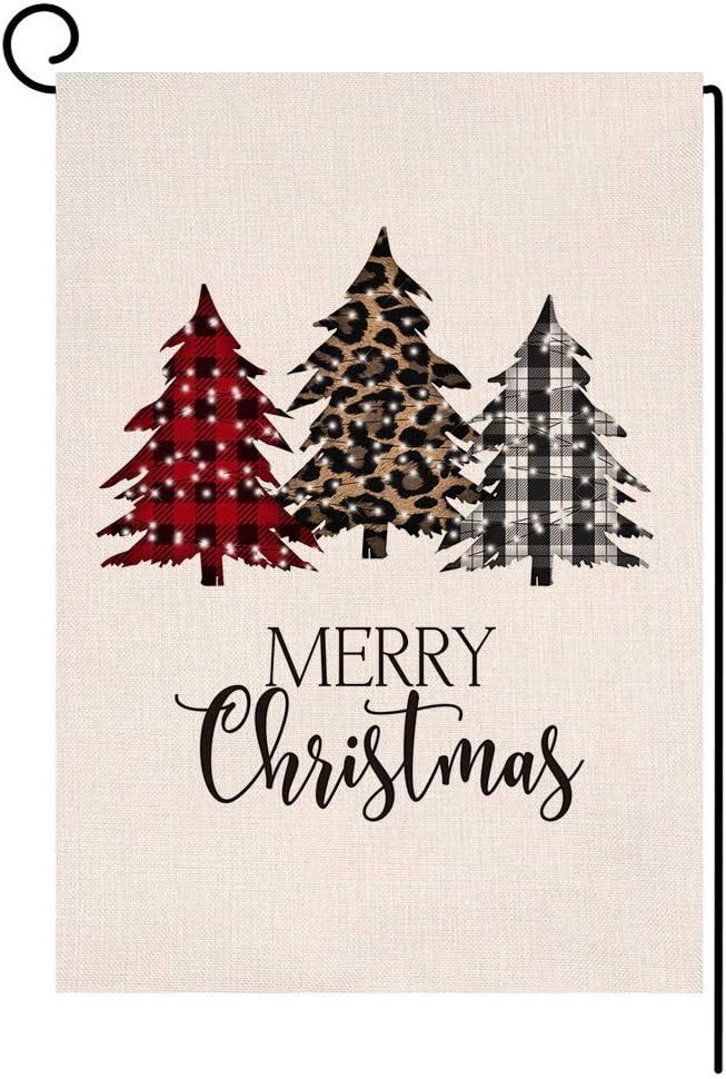 Merry Christmas Trees Garden Flag 12x18 Vertical Double Sided Buffalo Check Plaids Farmhouse Burlap Yard Outdoor Decorations (133669)