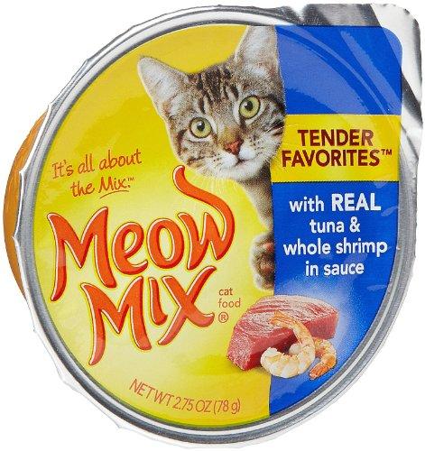 Meow Mix Tender Favoris réel thon et crevettes entières en sauce Wet Cat Food, 2,75 oz Coupes (Pack de 24)