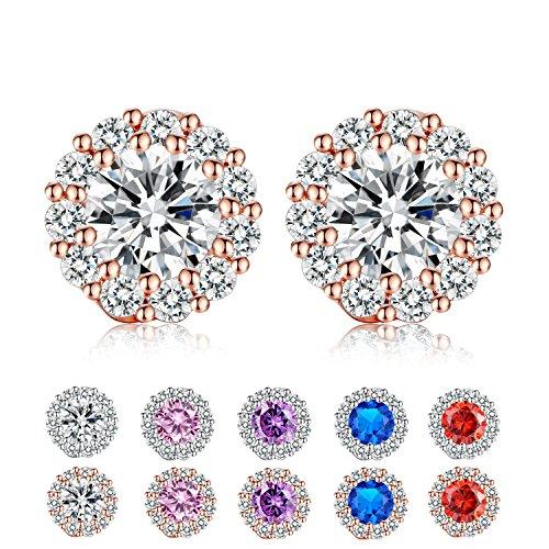 Girls Halo Stud Earrings Cubic Zirconia Post Earrings Platinum Plated Flower Design Round Stud Earrings