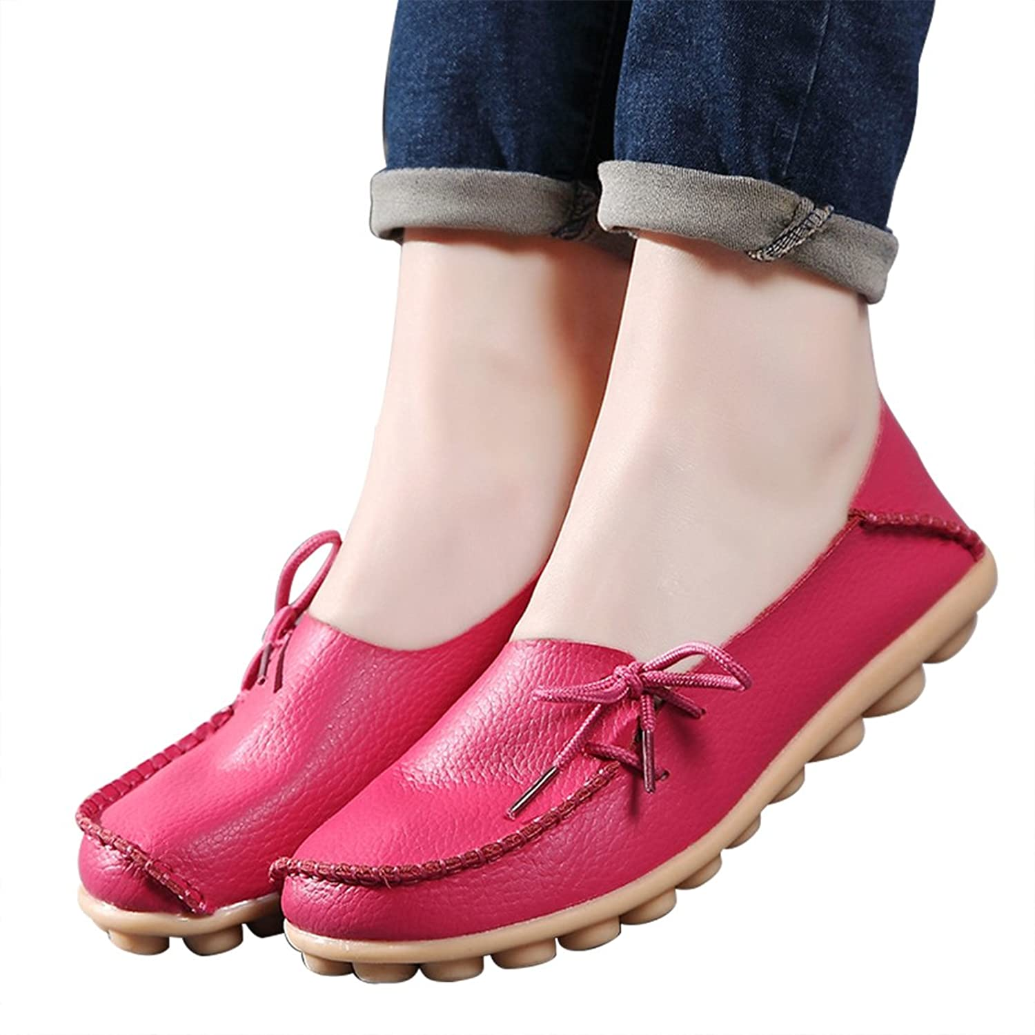 Sun Lorence Women Casual Fashion Leather Slip-on Shoes Plus Size Loafers Shoes