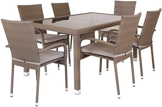 Conjunto de Mesa y sillas para jardín marrón de rattán plástico ...