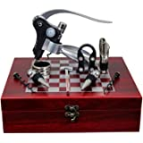 Rabbit Wine Opener Kit, 9 pieces Accessories Professional Stainless Steel Red Wine Cork Bottle Corkscrew Gift Set With Box