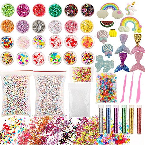 Slime Supplies kit, 50 Pack Slime Kits Include Slime Charms Fishbowl Beads, Pearl, Floam Beads, Glitter Jars, Confetti, Slime Tools, DIY Art Craft for Homemade Slime by ANPHNIE