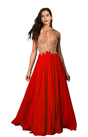 Lily Wedding Womens Halter Gold Applique Prom Bridesmaid Dresses 2019 Long  Chiffon Evening Formal Gown Red Plus Size 26