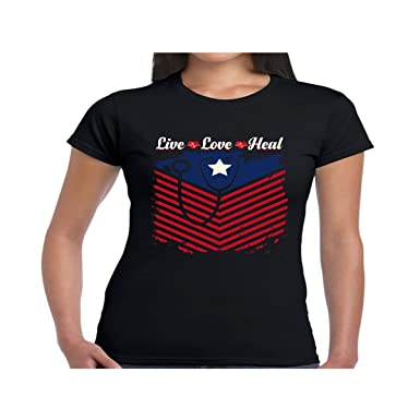 94da51e4408 Amazon.com  Women s Nurse Heart Flag American Live Love Heal Shirt - Tshirt   Clothing