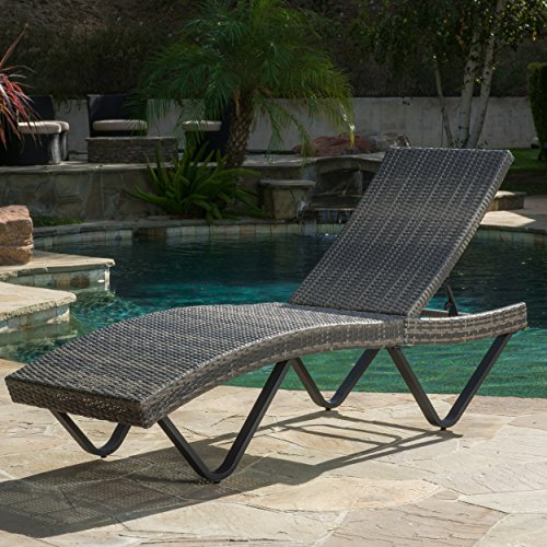 Zanna brown outdoor adjustable wicker chaise lounge for Brown chaise lounge outdoor