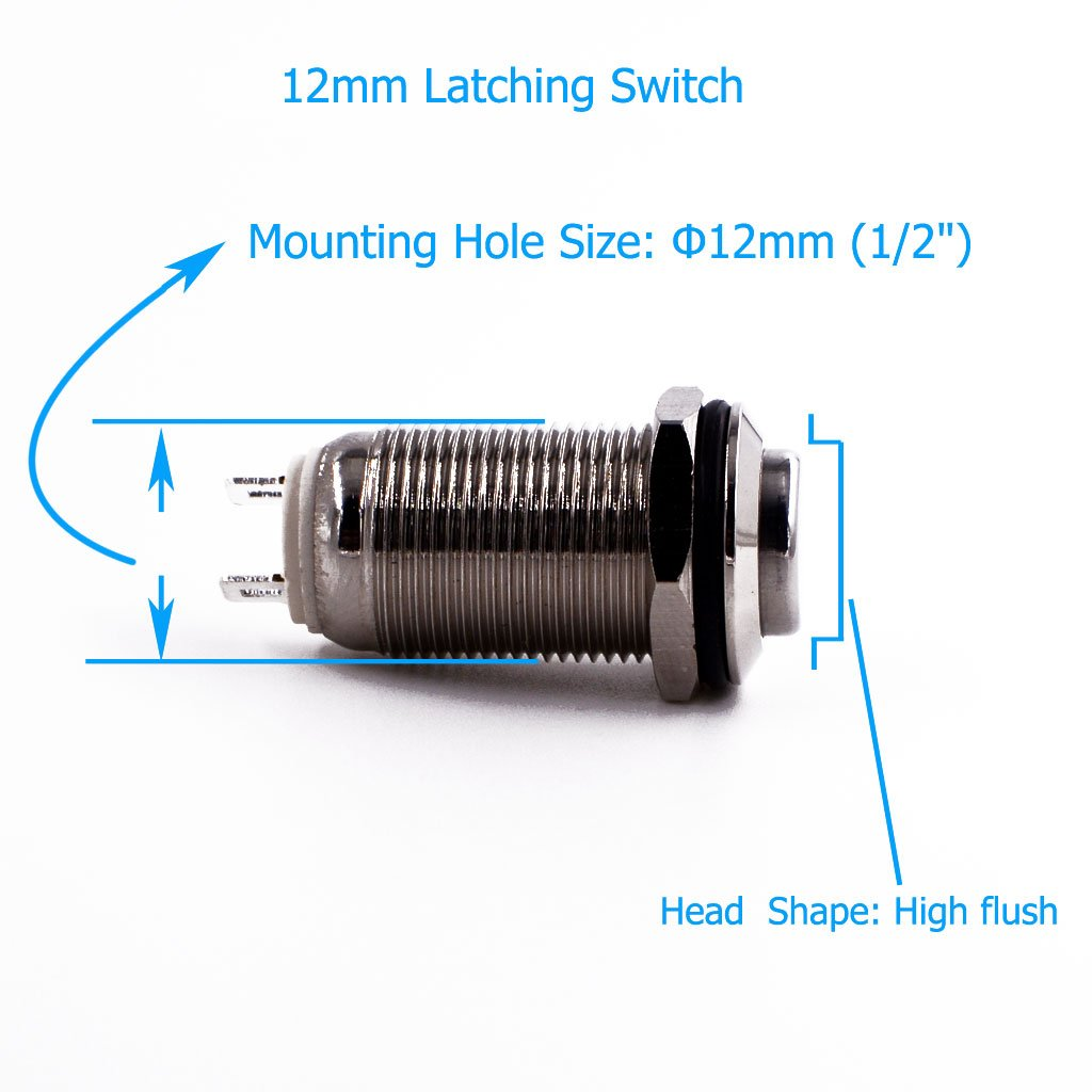Latching Push Button Switch Urtone Ur129 1no On Off Dc Ac 36v 2a Details About 3a 250v 1 Circuit Metal Shell Suitable For 12mm 2 Mounting Hole Silver