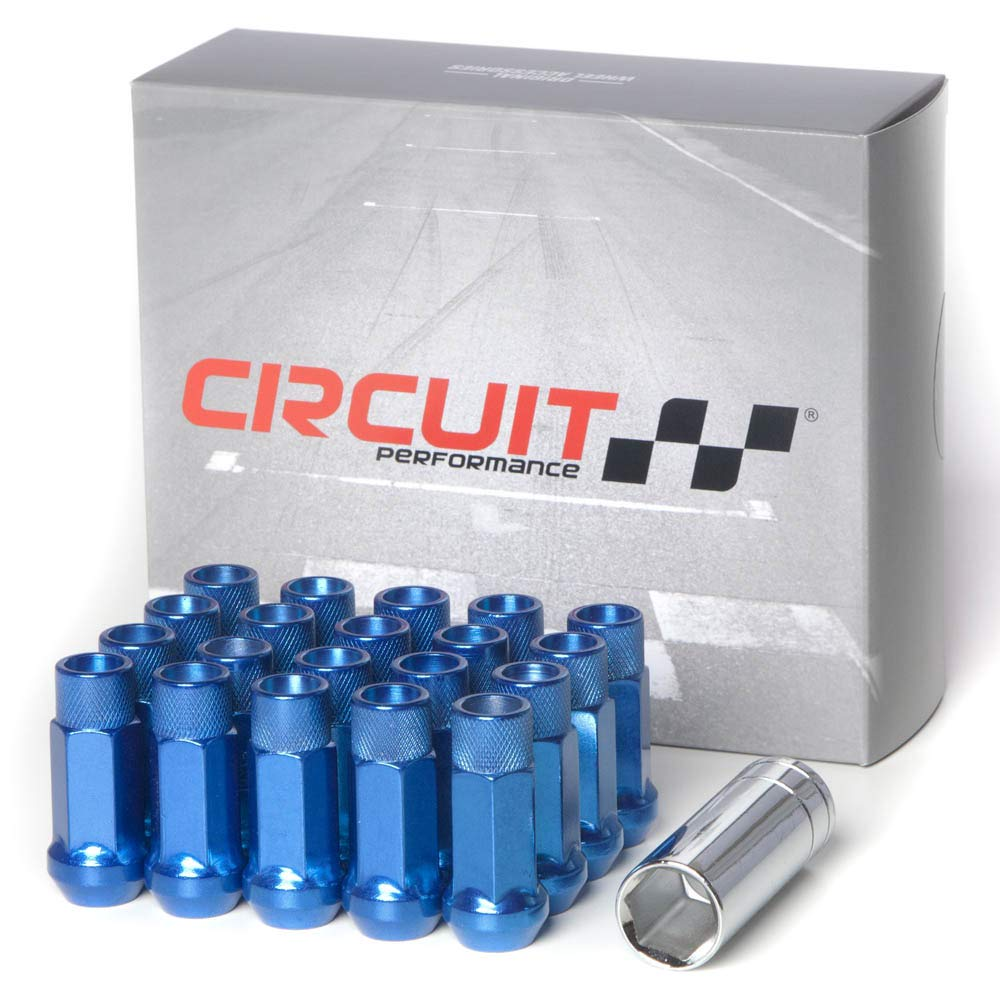 Circuit Performance Forged Steel Extended Open End Hex Lug Nut Aftermarket Wheels: 12x1.5 Blue - 20 Piece Set + Tool