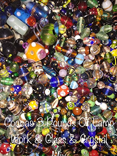 3 Pounds of Mix Lamp Work, Glass, Crystal Mix Beads, Encased Beads, Wedding Cakes, Crackle, Czech Pressed,, Crystal, Chinese Eye, BumpY Dots, Assorted, Variety Mix Size 6mm-24MM, Variety of (Lamp Bead)