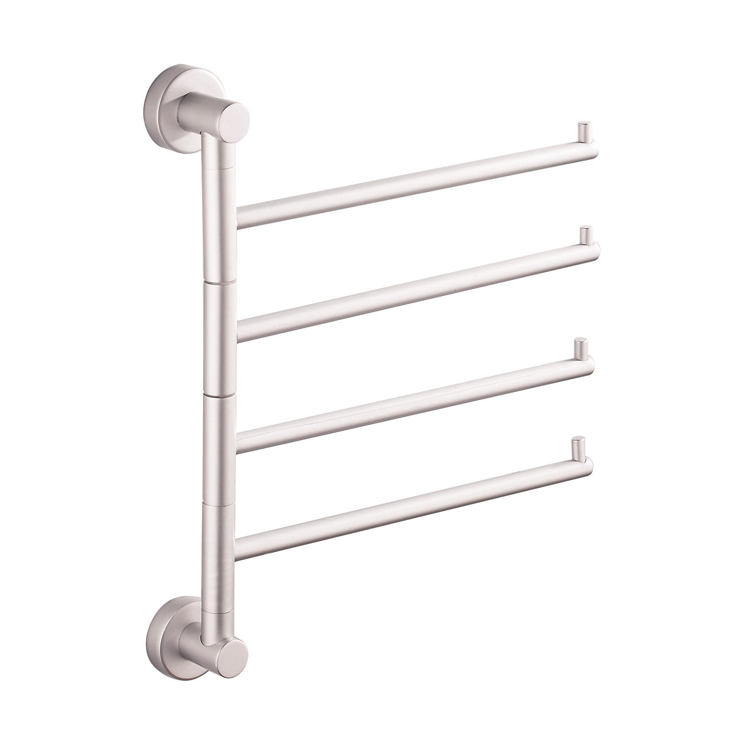 SOQO Adjustable Bathroom Bath Towel Bar wall mounted towel bar Swing Face Towel Rack Space Rustproof Wall Mount Holder (4Bars, Aluminum) by SOQO