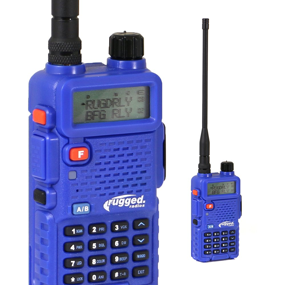 Rugged Radios RH-5R 5 Watt Dual Band (UHF/VHF) Handheld Radio with Antenna, Battery, Belt Clip, AC Charging Dock and Earpiece with Lapel Mic by Rugged Radios