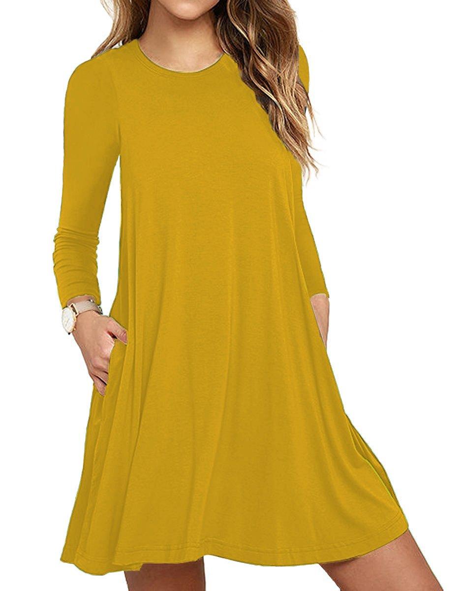 Women's Long Sleeve Casual Plain Simple T-Shirt Loose Dress Yellow Medium