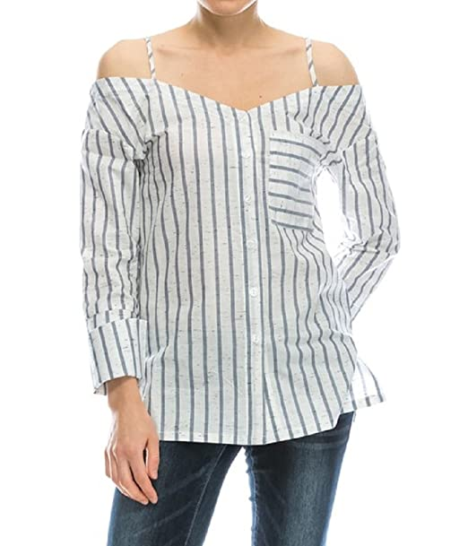 5253ef881b8769 Mono B Striped Reworked Off Cold Shoulder Deconstructed Shirt Button Down  Ivory and Blue Blouse Small