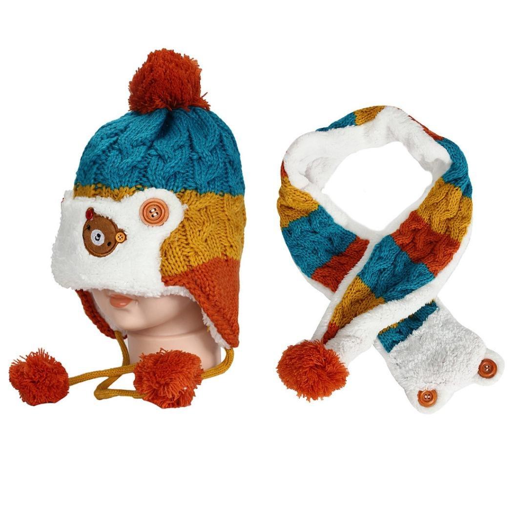 SHOBDW Boys Hats 2PCS Baby Girls Cute Cartoon Kids Winter Autumn Warm Cap Scarf Sets