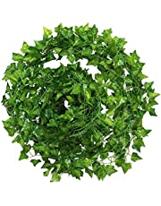 5 Pack Fake Foliage Green Leaf Hanging Vine Plant Artificial Ivy Garland for Wedding Party Garden Wall Decoration