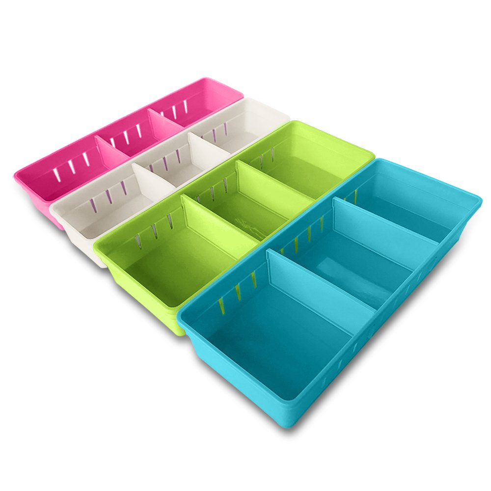 MMMMARILYN Drawer Organizer with 2 Adjustable Drawer Dividers (White S, Pink S, Green L, Blue L, Pack of 4)