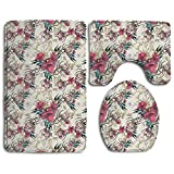 Huayaa Bathroom Non-Skid Carpet Bath Rugs 3 Pieces Set Water-Absorbing Floral Wallpaper Flannel Toilet Floor Bath Mats Contour Rug Lid Cover