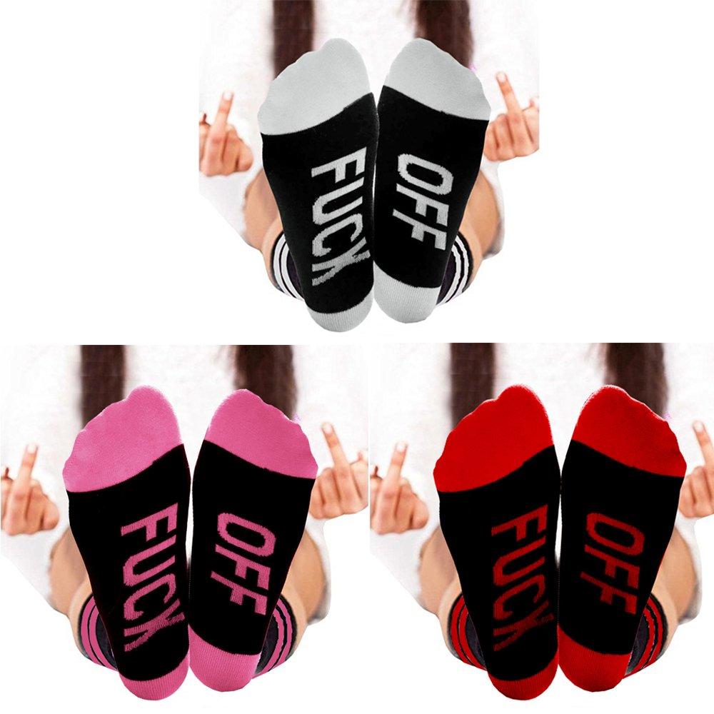 Funny Socks,Topivote 3 Pairs Fuck Off Cotton Crew Socks Knitting Word Crazy Socks (Three Pairs B) (A)