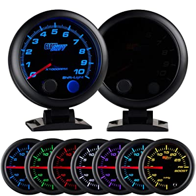 "GlowShift Tinted 7 Color 10,000 RPM Tachometer Gauge - for 1-10 Cylinder Gas Powered Engines - Built-in Shift Light - Mounts On Dashboard - Black Dial - Smoked Lens - 3-3/4"" 95mm: Automotive"