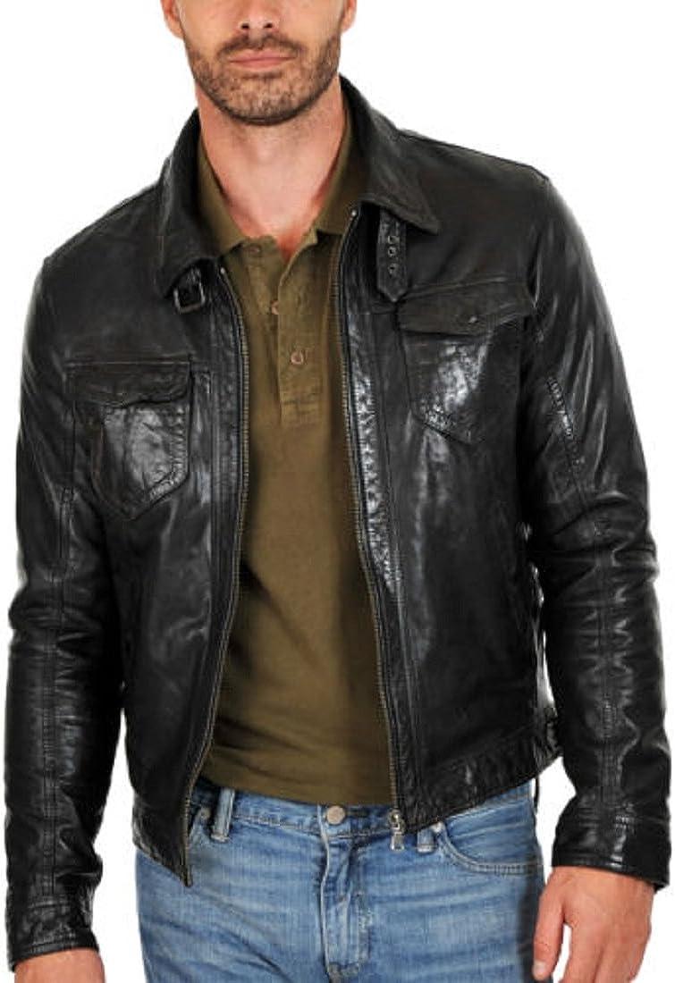 New Mens Genuine Lambskin Leather Slim Fit Biker Motorcycle Jacket for Men P073