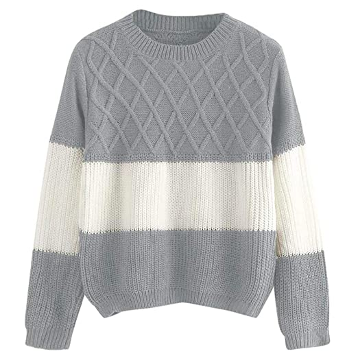 1e8d8de51b3a9d Owill Fashion Women Casual Long Sleeve Patchwork O-Neck Knitted Pullover  Sweater Tops (Gray