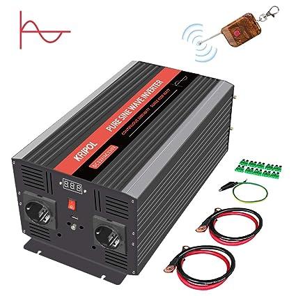 KRIPOL Inversor onda sinusoidal pura 3000 Watt-12V DC a 220/230V ...