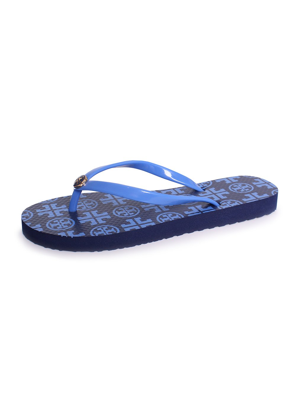 f4f991630 Galleon - Tory Burch Thin Printed Flip Flop Sandals In Navy Sea New  Traveler Size 8