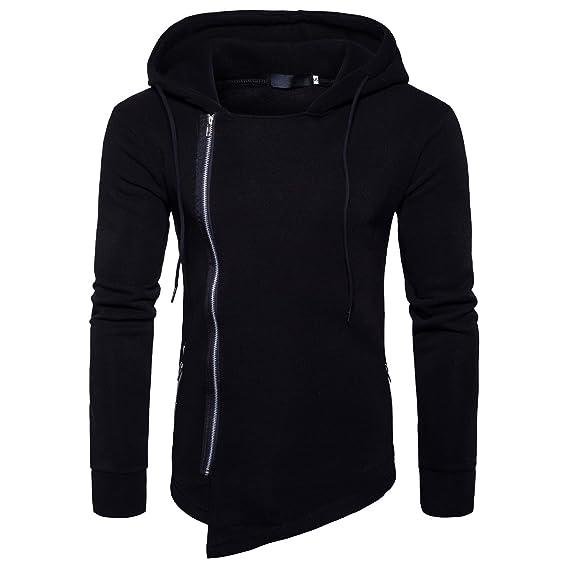 Cottory Men's Pure Color Irregular Bottom Sider Zipper Closure Hoodie/Hooded Sweatshirt by Cottory