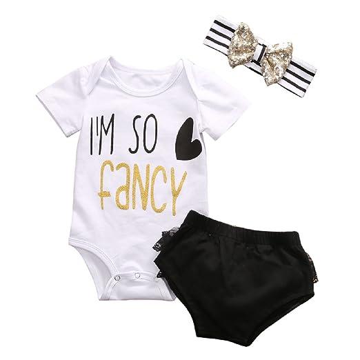 02607e8686ef Amazon.com  Baby Girl 3pcs Set Outfit I m So Fancy Romper +Short ...