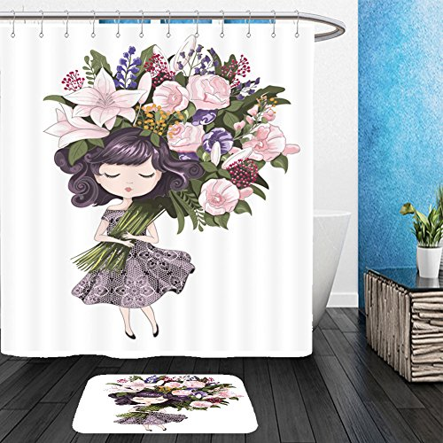 Vanfan Bathroom 2?Suits 1 Shower Curtains & ?1 Floor Mats cute girl with flowers children illustration for school books and more t shirt graphic cartoon 516884086 From Bath room