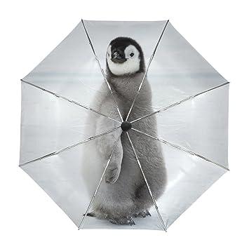 ALAZA Viaje Pingüino Lindo del Paraguas de Apertura automática Cerca de Protección a Prueba de Viento