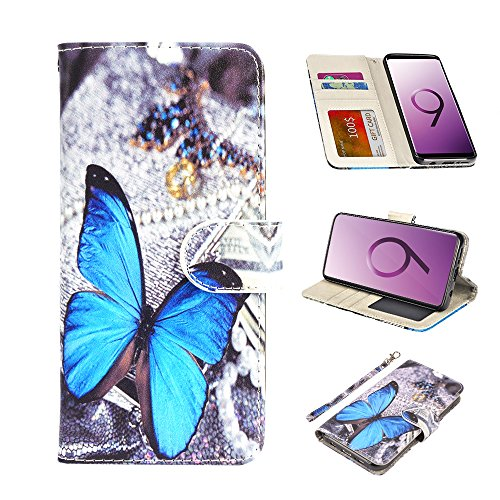 UrSpeedtekLive Galaxy S9 Wallet Case Folio Flip Premium PU Leather Case Cover w/Card Holder Slot Pockets, Wrist Strap, Magnetic Closure Compatible with Samsung Galaxy S9 (2018)- Blue Butterfly